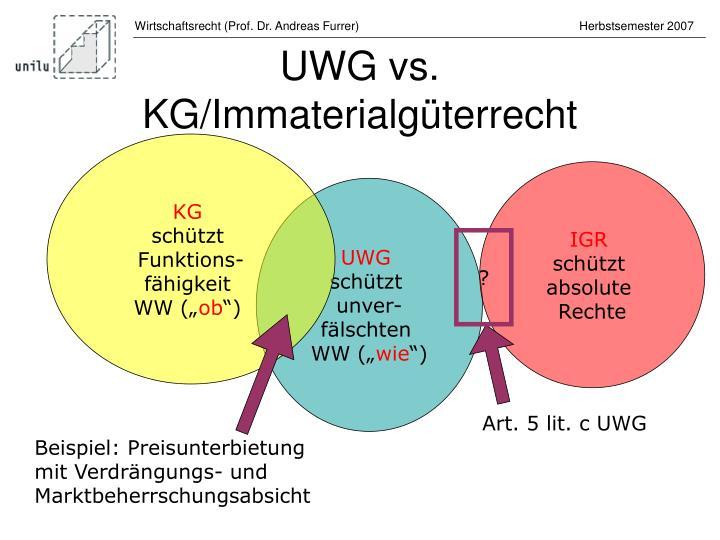 UWG vs.