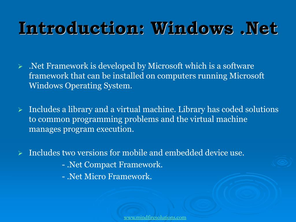 Introduction: Windows .Net