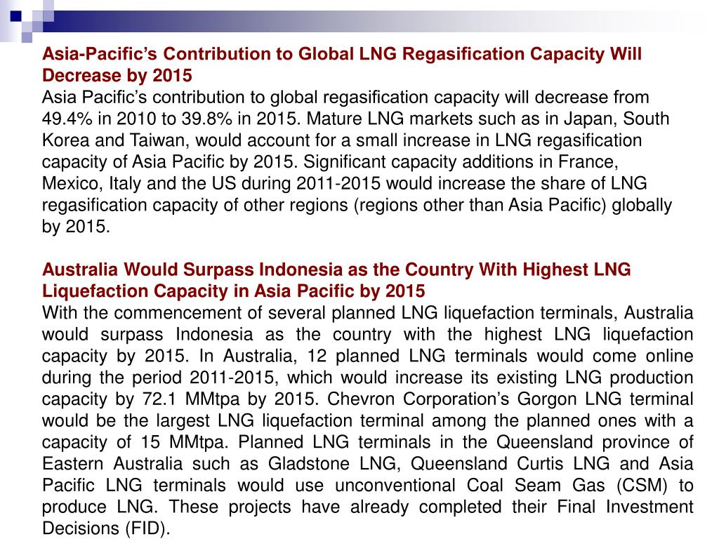 Asia-Pacific's Contribution to Global LNG Regasification Capacity Will Decrease by 2015