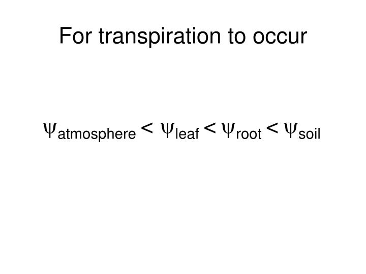 For transpiration to occur