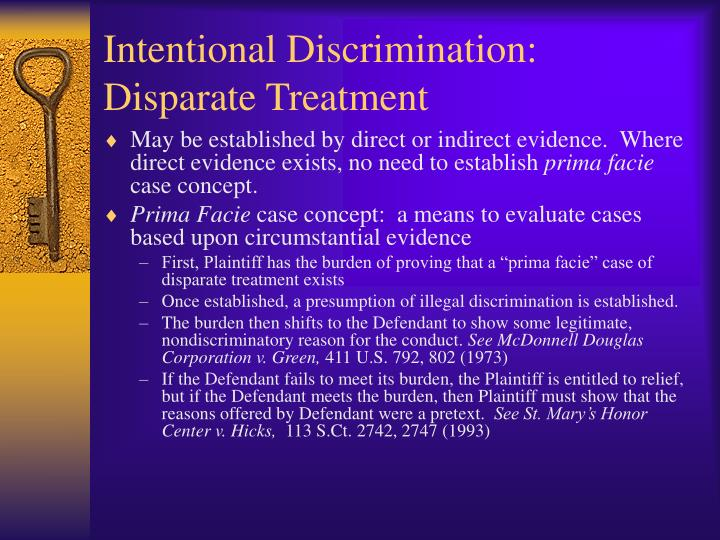 prima facie essay discrimination Prima facie and gender discrimination  in order to proceed with the suit, the plaintiff must be able to prove a prima facie case of discrimination the term prima .
