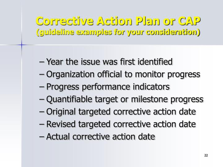 Corrective Action Plan or CAP