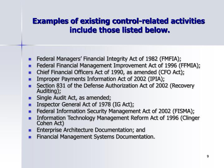 Examples of existing control-related activities