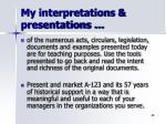 my interpretations presentations