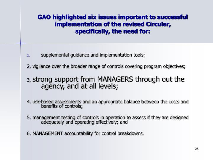 GAO highlighted six issues important to successful implementation of the revised Circular,