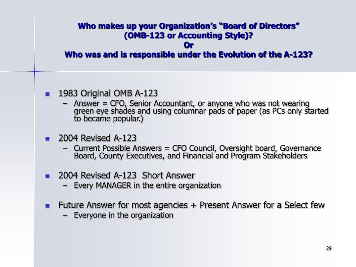 """Who makes up your Organization's """"Board of Directors"""""""
