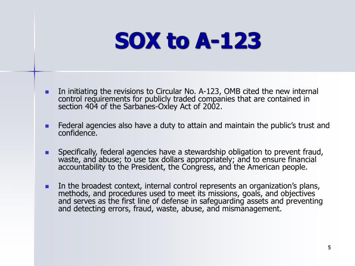 SOX to A-123