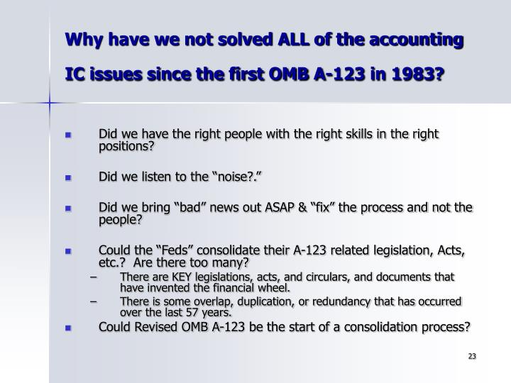 Why have we not solved ALL of the accounting