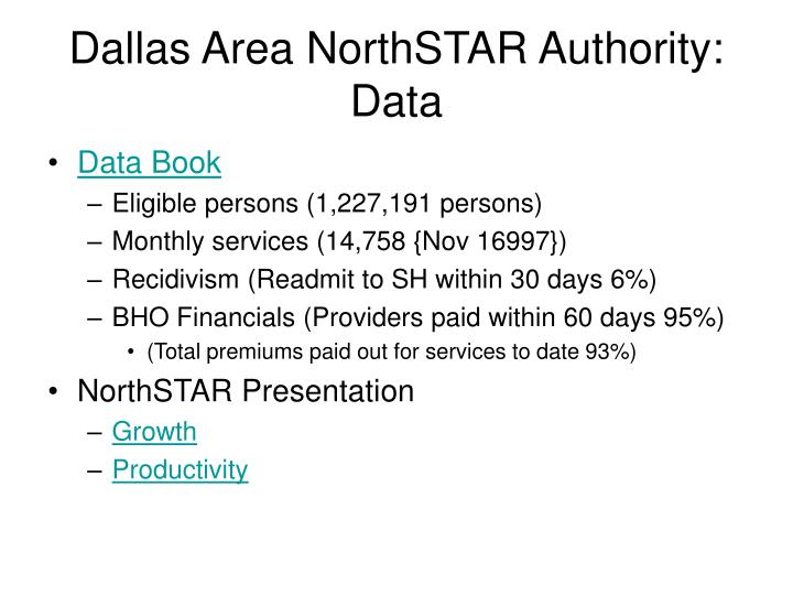 Dallas Area NorthSTAR Authority: Data