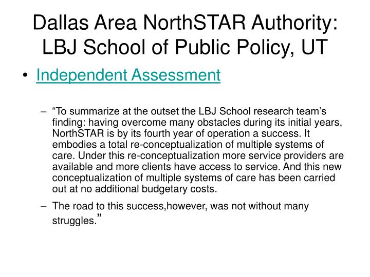 Dallas Area NorthSTAR Authority: LBJ School of Public Policy, UT