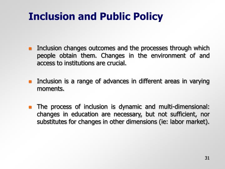 Inclusion and Public Policy