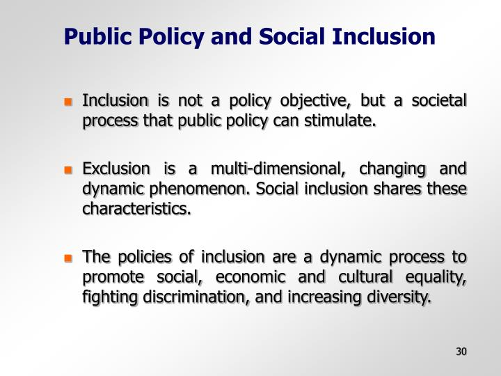 Public Policy and Social Inclusion