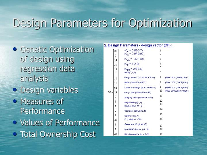 Design Parameters for Optimization