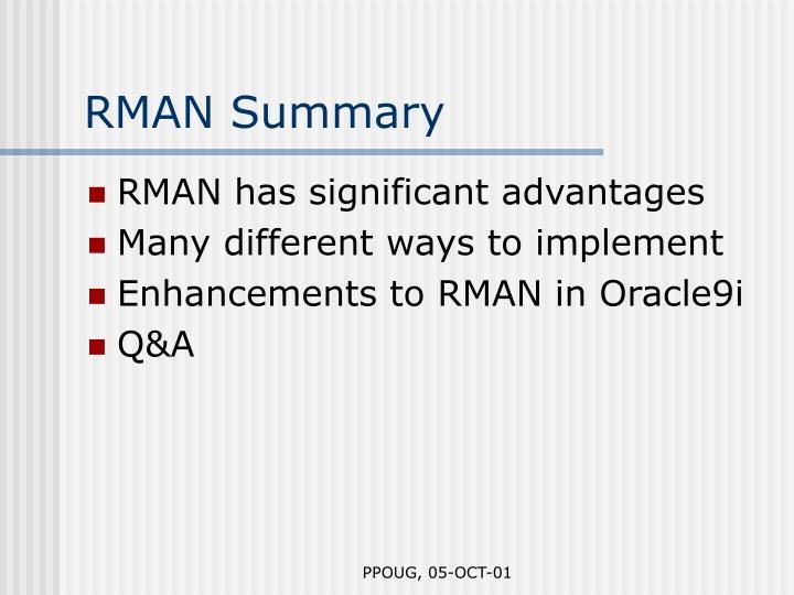 RMAN Summary