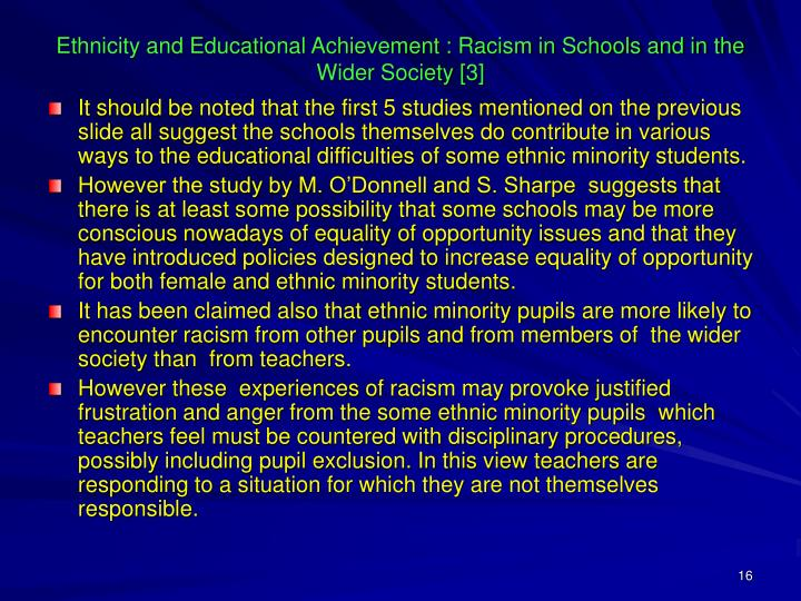 Ethnicity and Educational Achievement : Racism in Schools and in the Wider Society [3]