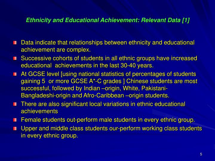 Ethnicity and Educational Achievement: Relevant Data [1]