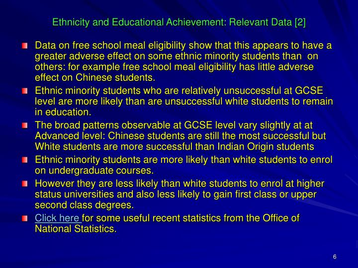 Ethnicity and Educational Achievement: Relevant Data [2]