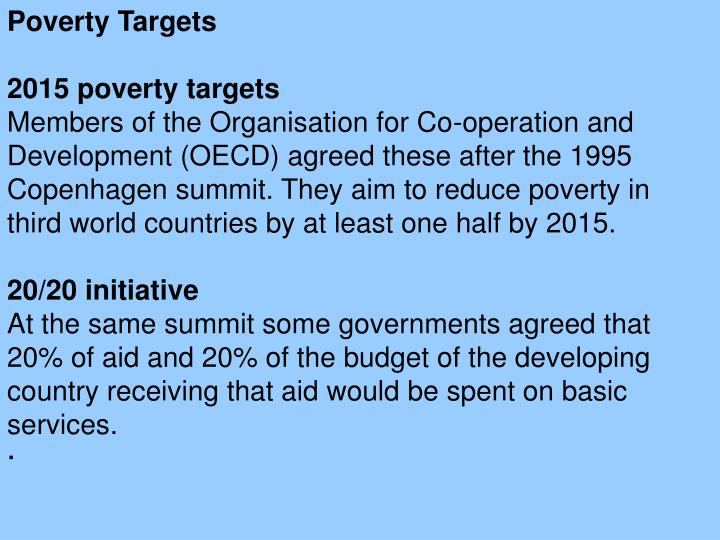 Poverty Targets