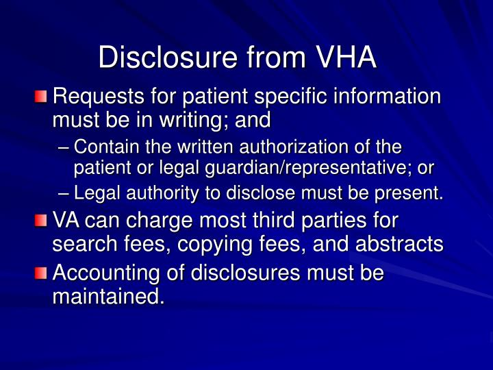 Disclosure from VHA