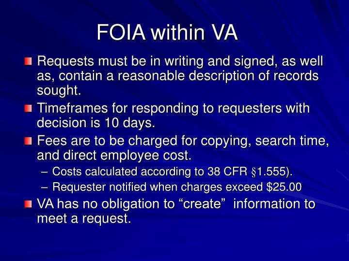 FOIA within VA