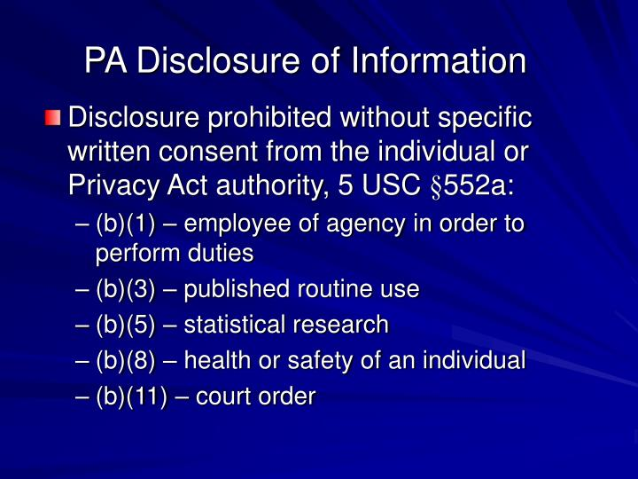 PA Disclosure of Information