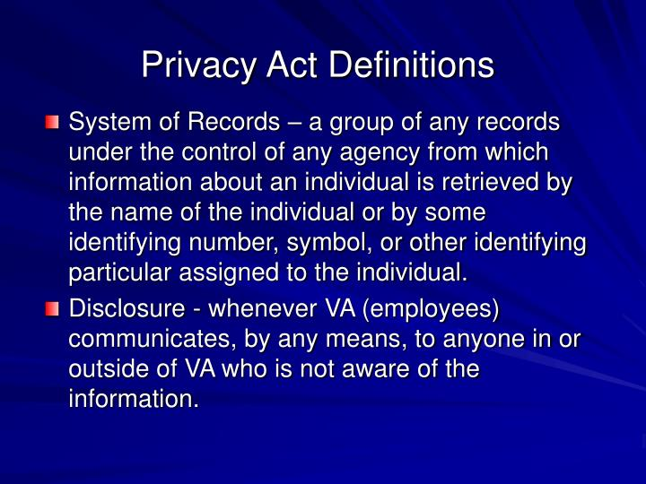 Privacy Act Definitions