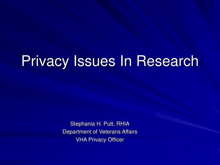 Privacy issues in research