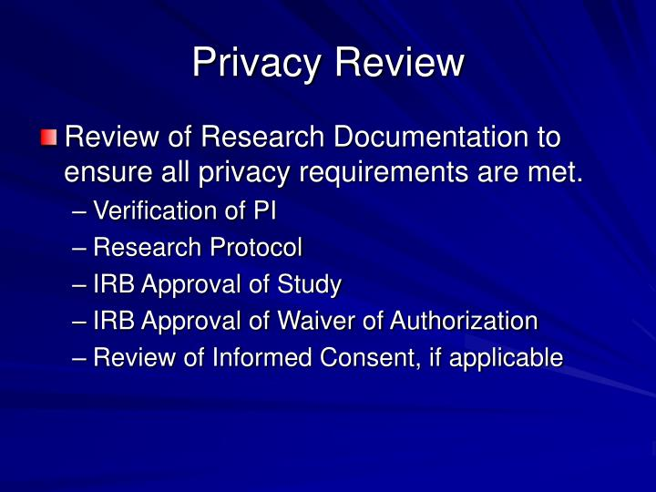 Privacy Review