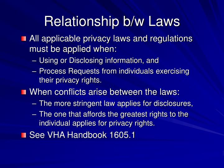 Relationship b/w Laws