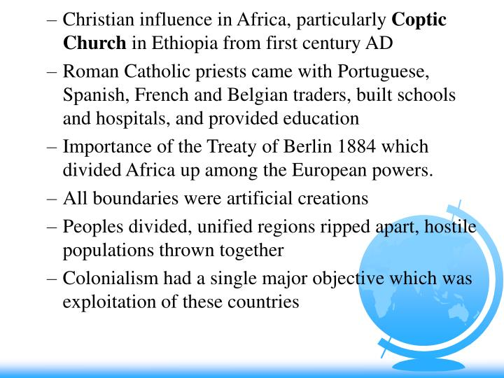 Christian influence in Africa, particularly