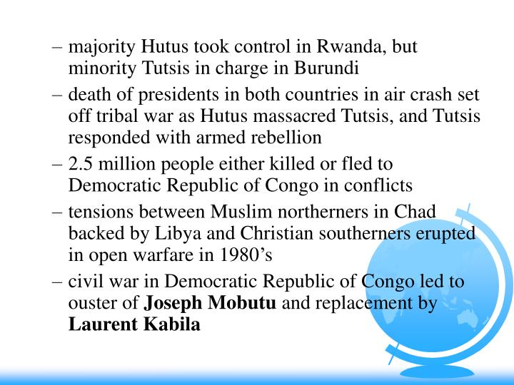 majority Hutus took control in Rwanda, but minority Tutsis in charge in Burundi