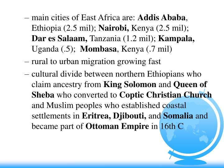 main cities of East Africa are: