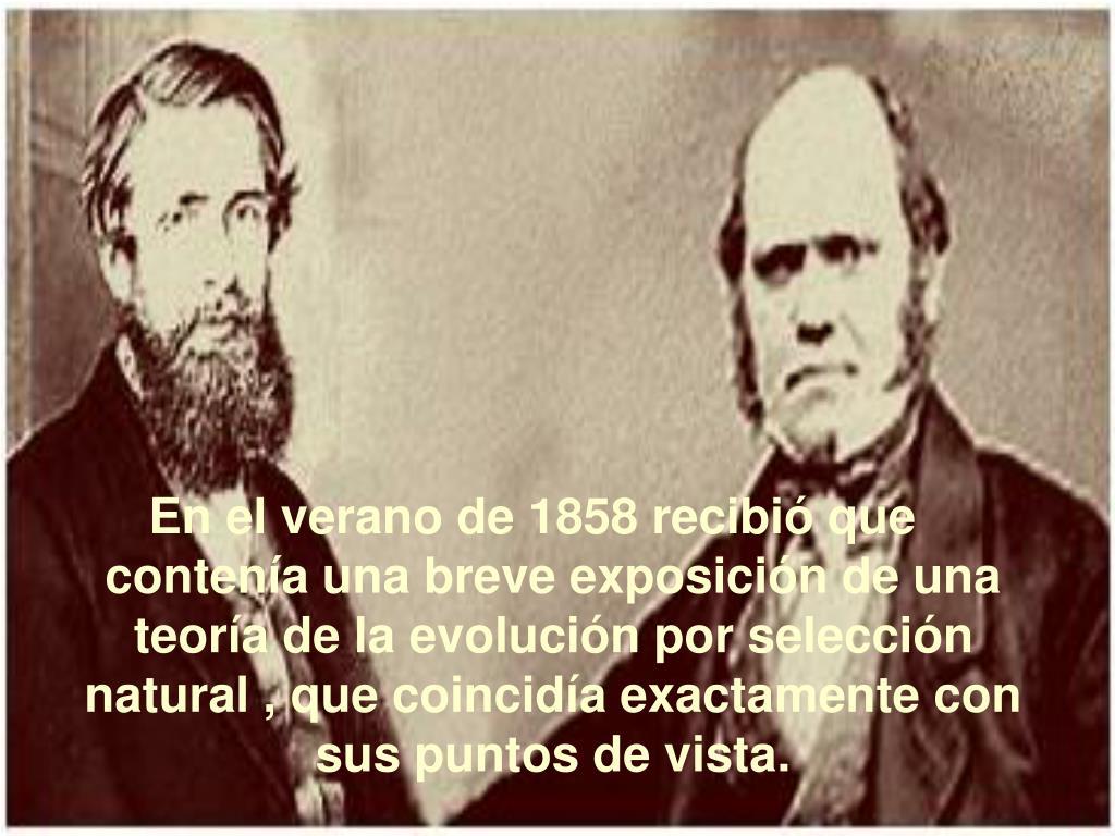 En el verano de 1858 recibió que contenía una breve exposición de una teoría de la evolución por selección natural , que coincidía exactamente con sus puntos de vista.