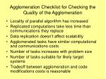 agglomeration checklist for checking the quality of the agglomeration