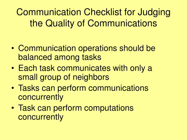 Communication Checklist for Judging the Quality of Communications