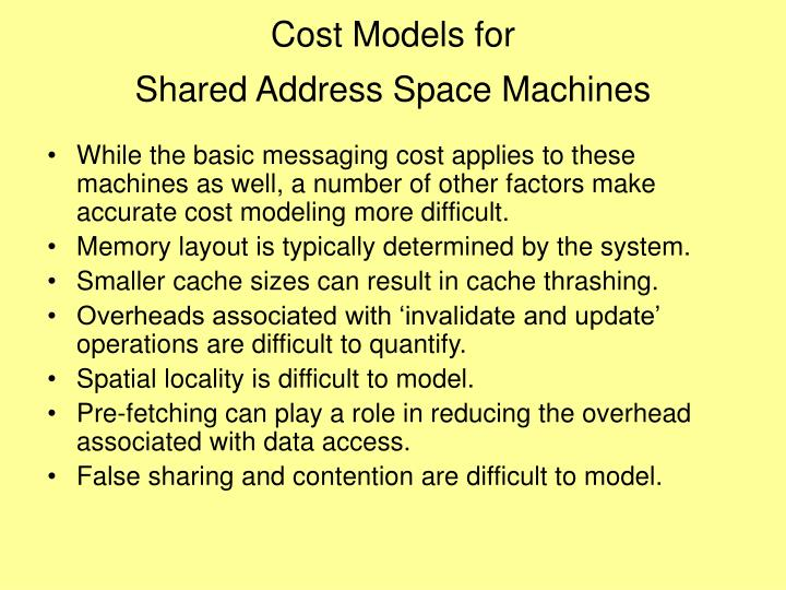 Cost Models for