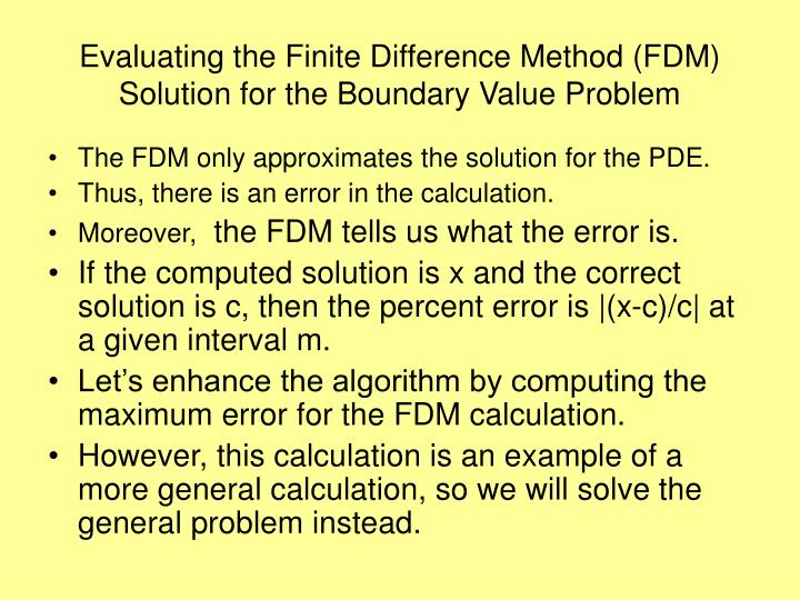 Evaluating the Finite Difference Method (FDM) Solution for the Boundary Value Problem