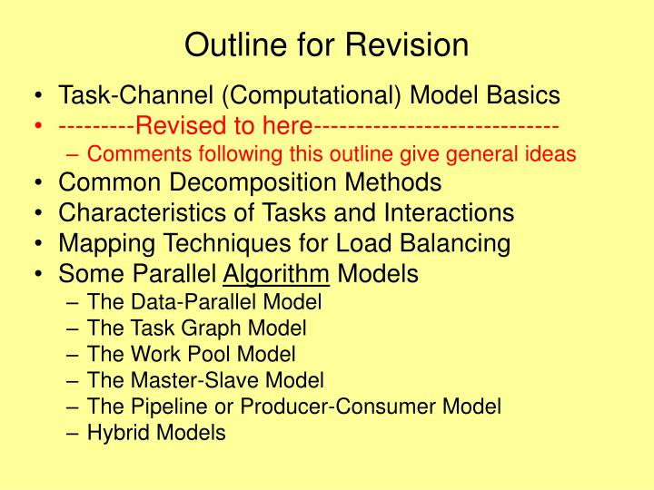 Outline for Revision