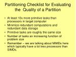 partitioning checklist for evaluating the quality of a partition