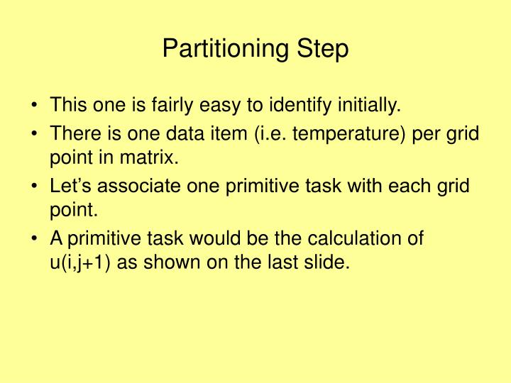 Partitioning Step