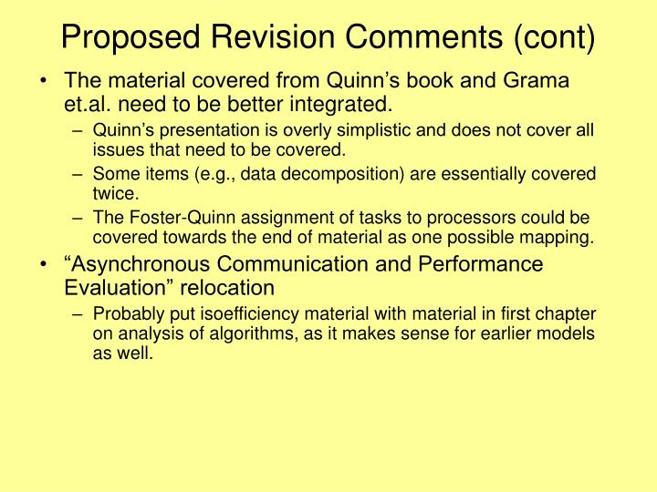 Proposed Revision Comments (cont)