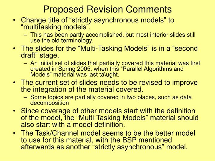 Proposed Revision Comments