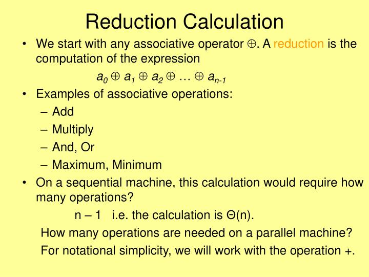 Reduction Calculation