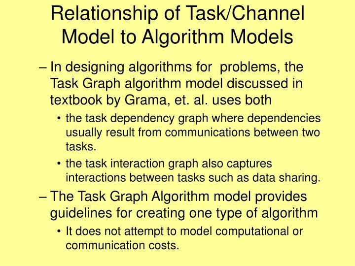 Relationship of Task/Channel Model to Algorithm Models