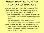 relationship of task channel model to algorithm models