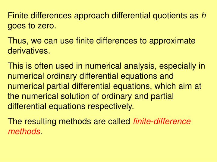 Finite differences approach differential quotients as