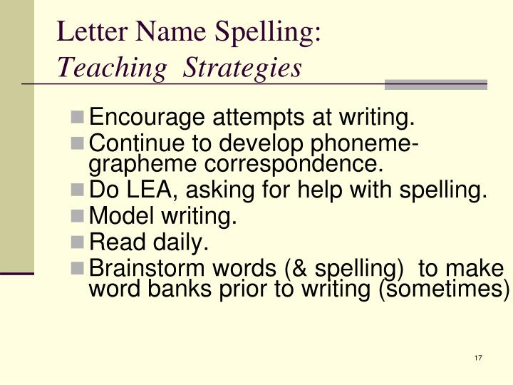 PPT - Emerging Spelling: Stages and Teaching Strategies ...