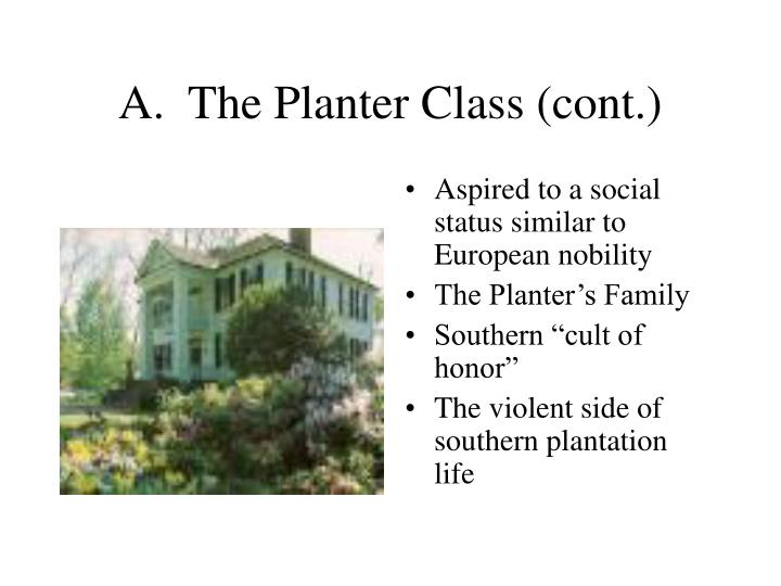 A.  The Planter Class (cont.)