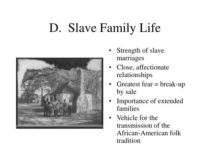 D.  Slave Family Life