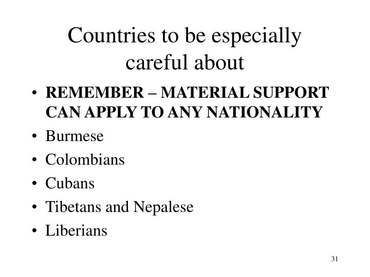 Countries to be especially